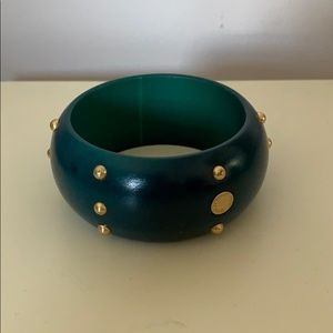 Marc Jacobs Teal with Gold Studs Chunky Bangle